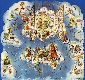 Vintage 3D Advent Christmas Calendar West Germany German Angels