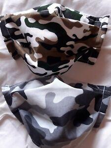 2x versch.Camouflage Mundschutz Behelfsmaske 2 lagig m. Nasenbügel u. Gummiband