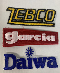 Lot Of 3 Fishing Patches GARCIA ZEBCO DAIWA VTG New Old Stock Lures Fishermen