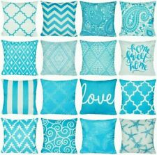 """Aqua Blue Home Decor Turquoise PILLOW COVER Double-Sided Bed Cushion Case 17x17"""""""