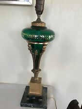 """Antique Glass Lamp With Bronze & Green Marble Base 18"""""""