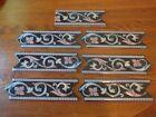 7 pieces vintage/antique MAJOLICA BORDER TILE Victorian Era..... black/gray/rose