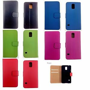 Luxury Genuine Real Leather Wallet Case Cover for Samsung Galaxy S5 UK SELLER