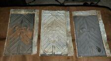 """Lot Of 3 Vintage Tin Roof Shingles-Fleur-De-Lis Design ~10-1/8"""" x 6-1/4"""" Salvage"""