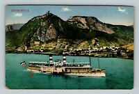 Drachenfels, Boat Traveling Through, Vintage Germany Postcard