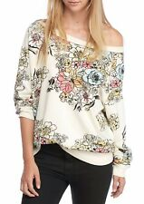 172721 NWT Free People Go On Get Floral Printed Pullover Sweatshirt Tunic Top XS
