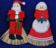 Mr. and Mrs. Santa Claus Pair Folk Art Straw Sweden Swedish Christmas Decoration
