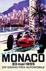 Monaco Grand Prix 1965 Car Racing Vintage Poster Print Retro Style Garage  Art