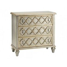 NEW FRENCH MODERN HAND PAINTED SILVER GOLD 3 DRAWER ACCENT CHEST