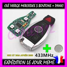 Clé Vierge Smart Key Complète Avec Électronique Mercedes 3 boutons + PANIC