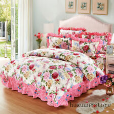 New 100%Cotton 4Pcs Flowers Bedding Sets Quilted Cotton Bed Spread Duvet Cover