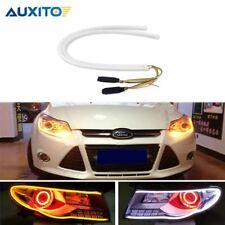 2Pcs 60cm Sequential Flowing Angel Eyes DRL Flexible LED Tube Strip White Daytim