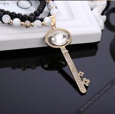 Damen Halskette Perlen Zirkonia Collier Anhänger Schmuck Schlüssel Kette lang