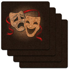 Drama Comedy Tragedy Masks Acting Theatre Theater Low Profile Cork Coaster Set