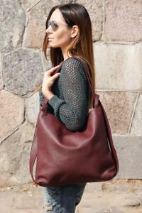 Burgundy leather tote bag - backpack