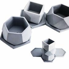 Hexagon Cement Clay Mold Silicone Concrete Flower Pot Home Garden Craft Mould