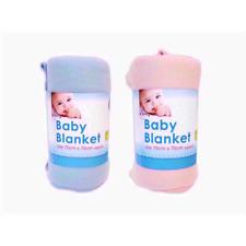 2 x Baby Fleece Blankets for Pram, Mose Basket, Crib. 1 Pink & 1 Blue