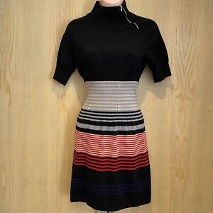Fenn Wright Manson Studio Black Short Sleeved Jumper Dress UK 14 Grey Red Zip