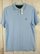 Men's Nautica Short Sleeves Polo Shirt Blue 100% Cotton ~ Size L NWT