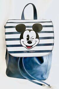 Cath Kidston Disney Mickey Mouse Leather Backpack Blue Striped Rucksack Handbag
