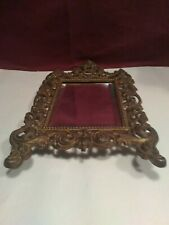 L3 Vtg Ornate Solid Metal Wall Hanging Beveled Mirror~Super Nice Piece