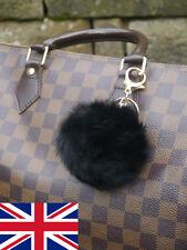 Lapin réel noir boule de fourrure pompons sac charme trousseau Accessoire uk stock