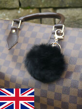 Black Real Rabbit Fur Ball Pompom Bag Charm Keyring Accessory UK Stock