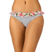 Pureda Bella Stripe Classic Bikini Brief Red Black Floral Frill V Sizes NEW
