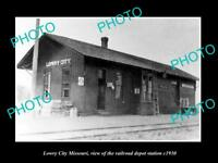 OLD LARGE HISTORIC PHOTO OF LOWRY CITY MISSOURI, THE RAILROAD DEPOT STATION 1930