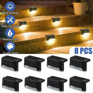 8 Outdoor Solar LED Deck Lights Path Garden Patio Pathway Stairs Step Fence Lamp