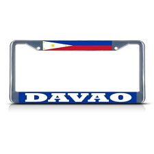 PHILIPPINES DAVAO Chrome Heavy Duty Metal License Plate Frame Tag Border
