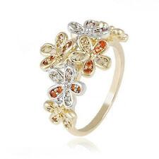 Statement Yellow Gold Filled Multi Gem Flower Ring - UK Size M 1/2 - Gift Idea