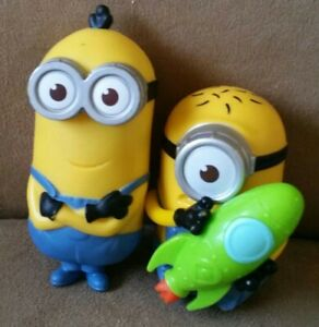 Used Mcdonalds Collectible Toys Minion Toys 1 Plain & 1 with Green Toy Rocket