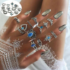 13 pcs/Set Knuckle Ring Floral Stone Boho Vintage Jewelry Fashion Crown Rings