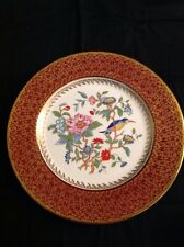 "Aynsley England Fine Bone China 10"" Plate Hand Painted Red Gold Birds Flowers"