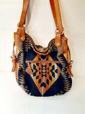 "Leather Bag Purse Strap Pendleton Wool Usa Fabric Aztec Southwest Vintage 11""x12"
