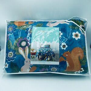 Pillowfort Friendly Fauna Twin Comforter with Sham Blue Squirrel Bunny Animals