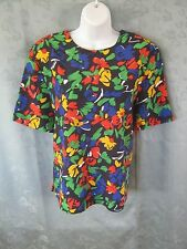90's Kathy Che Blouse Size Large Collarless Shell Top Career Bright Floral Print