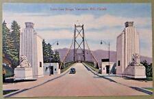 Vintage Postcard LIONS GATE BRIDGE VANCOUVER BC CANADA car auto photo
