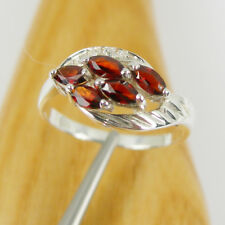 0.85 carat Natural Red Marquise Garnet Ring Genuine 925 Sterling Silver - R3158