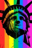 Statue of Liberty Rainbow Flag Pop Art Print Mural Poster 36x54 inch