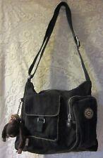 Large Vintage  Kipling Black Multi Pocket crossbody bag double monkeys