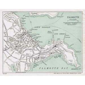 FALMOUTH Street Plan / Map of the Town - Vintage Folding Map 1933