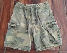 Abercrombie Fitch Mens Twill 7 Pocket Cargo Shorts Size 28 (30) Camo Drawstring
