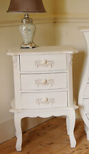 Shabby Chic Vintage French Bedroom Furniture Ivory Cream Bedside Table 3 Drawers