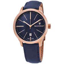 Maserati Attrazone Blue Dial Blue Leather Men's Watch R8851126001