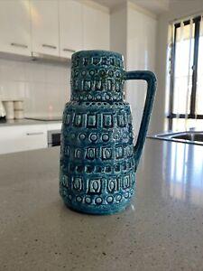 Vintage Retro Tall Blue Green Japanese Vase Jug - Bitossi Style c.1960s Ceramic