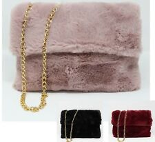 Ladies faux fur side clutch handbag Shoulder Fluffy Bag Gold Chain Zip Bag  purse 1df76a633c4c1