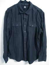 Rock & Republic Mens Size XL Charcoal Gray Off Black Long Sleeve Button Up Shirt