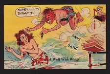 "Comic Postcard man diving after bathing beauty ""Honey--I'm dynamite"""